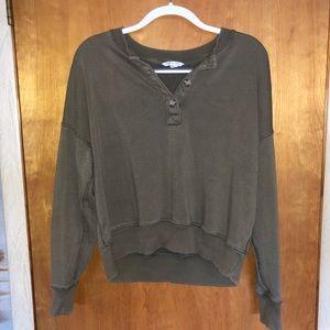 American Eagle Henley Pullover Sweatshirt